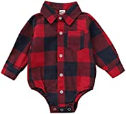 Camidy 1-6T Kids Toddler Boys Girls Long Sleeve Letters Printed Button-Down Plaid Shirt