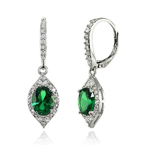 (LOVVE Sterling Silver Simulated Emerald & White Topaz Oval Dangle Earrings)