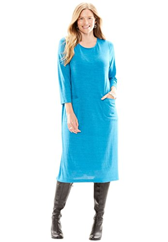 Woman Within Women's Plus Size Slouch Pocket Knit Dress Deep Sea Blue,3X