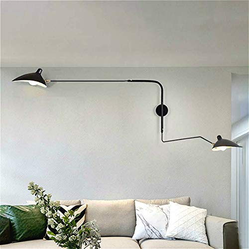 SUSUO Double Heads Swing Wall Sconce 2-Light Black Wall Adjustable Lamp Indoor Wall Lighting Fixtures for Bathroom Bedside Garage Porch Cafe Club,E12 Light Bulb Socket