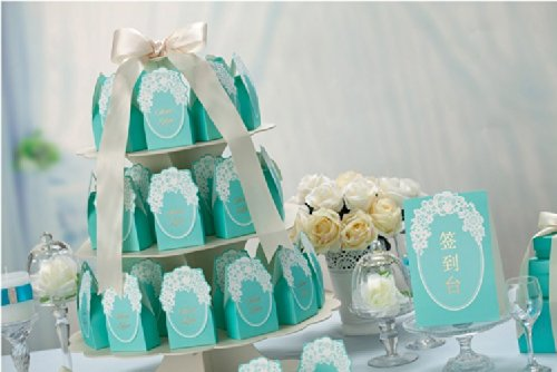 50pcs/lot Blue Party Favor Gift Candy Chocolate Boxes Wedding Favor Candy Boxes