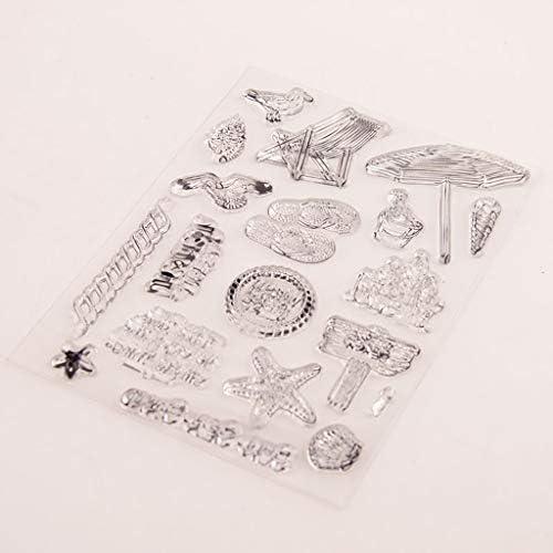 Clear Silicone Stamp Sheet Impression Scrapbooking Gaufrage Stamper Transparent Coller Sceau pour Bricolage Scrapbook Albums Photo Papier Cahier de Carte Faire des Arts Artisanat Plage Vacances