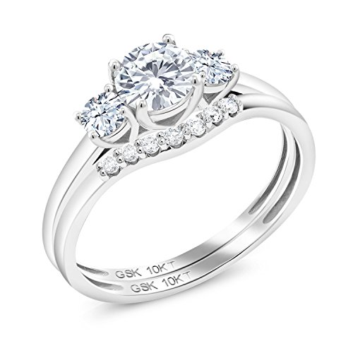 Gem Stone King 10K White Gold 3-Stone Bridal Set Rings Timeless Brilliant Round (IJK) 0.50ct (DEW) Created Moissanite and Created Sapphire (Size 7)