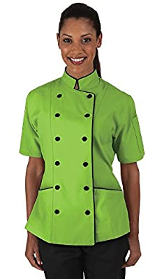 Women's Apple Green Chef Coat with Piping (XS-3X)