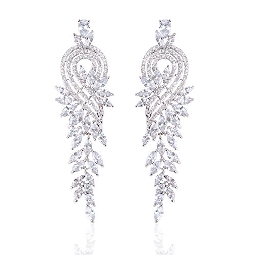 Ginasy Silver Luxury Leaf Shape Cubic Zirconia Dangle Earrings Tassels for Bridal or Fashion with Genuine Platinum Plated - Teardrop Jewelry Gift for Women Girls (Leaf Tassels White 3.27