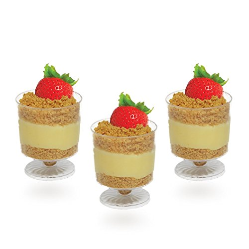 Posh Setting Mini Collection, Mini Mousse Cup, Heavyweight Clear Plastic, Elegant Disposable Mini 1.5oz Mousse Cup, Great For Desserts. (24 CT) (Parfait Collection)