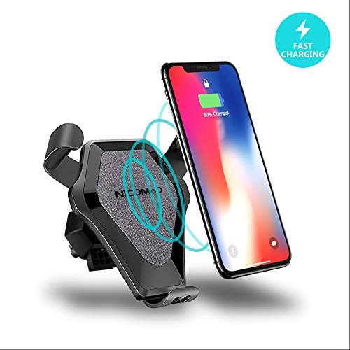 Mount, Auto-clamping Qi Fast Charging One Touch for iPhone X/8/8 Plus, Air Vent and Dashboard Vehicle Phone Charger for Samsung Galaxy S8/S8 Plus/S7 Edge/S6 Edge Plus/Note 8,Denim ()