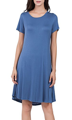 UAress Women's Short Sleeves Casual Swing T-Shirt Dress with 2 Side Pockets, Blue, S -