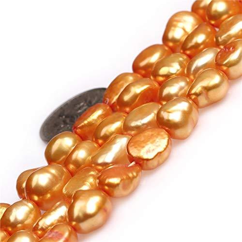 JOE FOREMAN 8-9x10-11mm Freshwater Cultured Pearl Semi Precious Gemstone Olivary Orange Loose Beads for Jewelry Making DIY Handmade Craft Supplies 15