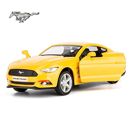 TGRCM-CZ 1/36 Scale 2015 Ford GT Mustang Diecast Car Model, Zinc Alloy Toy Car for Kids, Pull Back Vehicles Toy Car for Toddlers Kids Boys Girls Gift (Yellow)