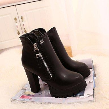 Wsx & Plm Des Femmes-bottes-casual-confortable-carré Pu (polyuréthane) -black / Bourgogne, Us8 / Eu39 / Uk6 / Cn39