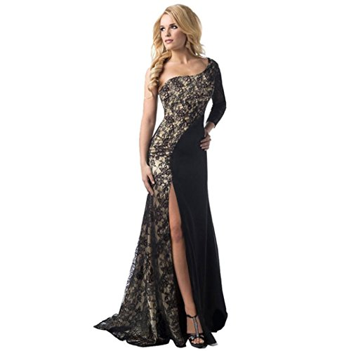 Dressin Women's Sexy Prom Dress - Ladies Formal Off Shoulder Floral Lace Wedding Bridesmaid Long Ball Gown Evening Party Dress (Black - M)