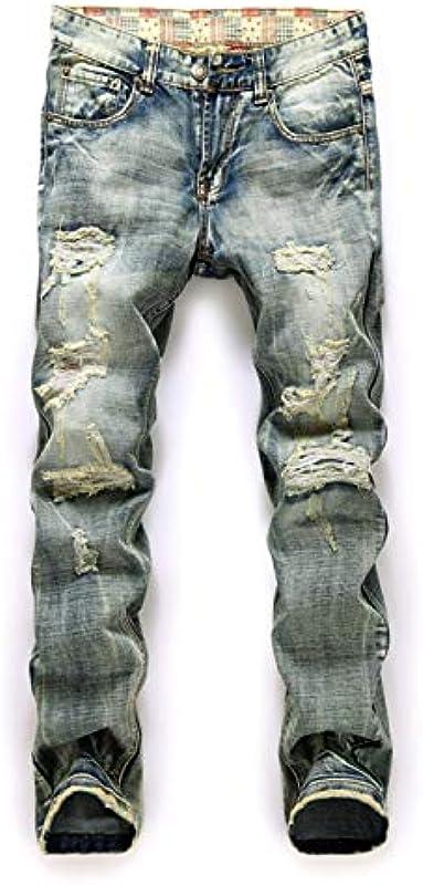 Męskie Jeans Ausgefranstes Loch In Dem Grundgewebe Und Mehr Gerade Rot Rottet Ausgefranst Denim-Hosen Großer Yards mit Soft Touch (Color : A, Size : 32): Küche & Haushalt