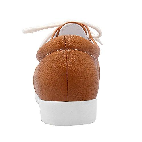 Balamasa Dames Bandage Ronde Neus Solide Geïmiteerd Leer Flats-schoenen Geel