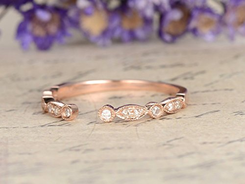 Solid 14k Rose Gold Natural Diamond Open Wedding Band Half Eternity Gap Marquise Milgrain Engagement Ring Stacking Matching Band Antique Bridal Anniversary Gift