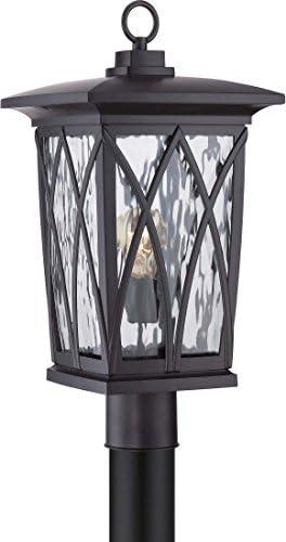 Quoizel GVR9010K Grover Outdoor Lantern Post Mount, 1-Light, 150 Watts, Mystic Black 21 H x 11 W