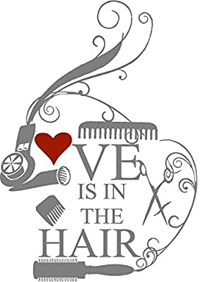 """Love is in the Hair wall decal Cosmetologist, hairdressers (Black, Medium 21.5"""" tall by 16"""" wide)"""