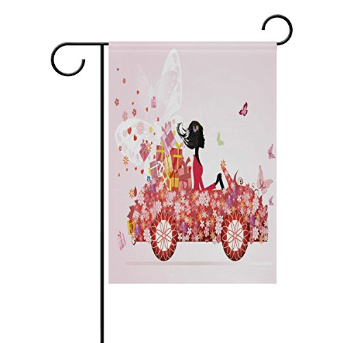 ALAZA 28x40 IN Polyester Garden Flag Girl On Red Car With Fl