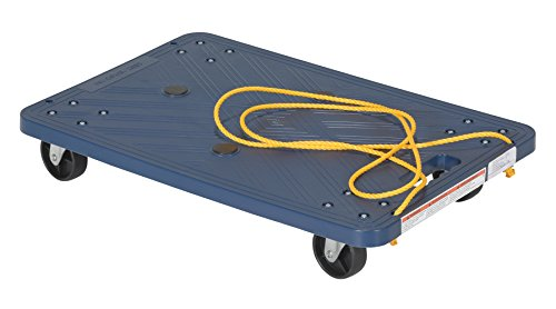(Vestil POS-1624-ROPE Plastic Office Dolly with Pull Rope, 220 lbs Capacity, 24