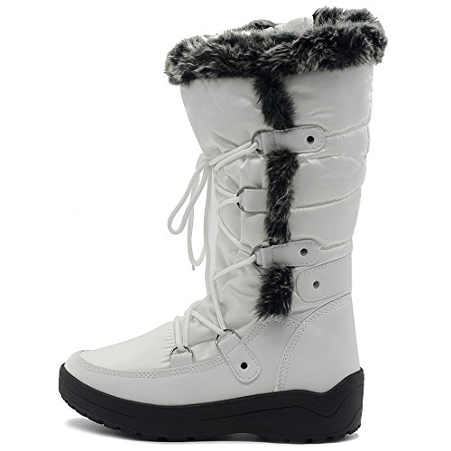 Ollio Women's Shoe Lace Up Nylone Padding Quilted Fur Snow Duck Boots TWB5127 (8 B(M) US, White)
