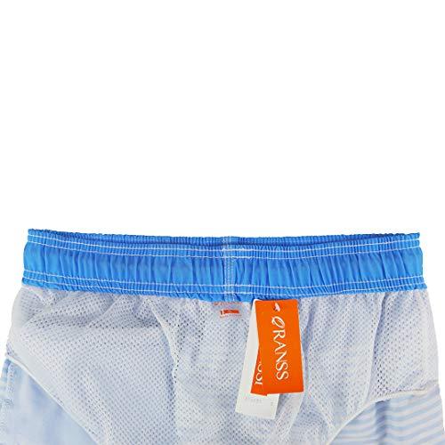 6764953e46 QRANSS Men's Quick Dry Swim Trunks Bathing Suit Striped Shorts with Pockets