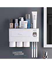 TuCao Automatic Toothpaste Dispenser Squeezer Kit with Toothbrush Holder Wall Mounted, 6 Toothbrush Slot with Dustproof Cover, 3/4 Magnetic Cups and Cosmetic Organizer Drawer