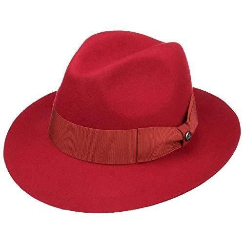 Banda Grosgrain Fieltro Sombreros Mujer Oscuro Sombrero Lierys Made Lana By De Otoño In Fedora Con Rojo invierno Italy xzB74Ow