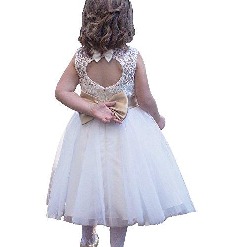 - Miama Ivory Keyhole Back Lace Tulle Wedding Flower Girl Dress Toddler Girl Dress