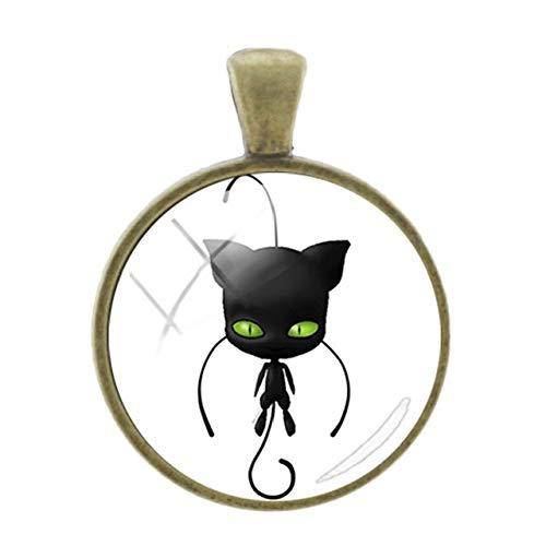 Pendants -1Pc Simple Black Cat Picture Pendants Classic Fashion Bronze Plated Charms 25Mm Glass Cabochon Dome Cartoon Jewelry - Lb115