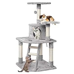 "Yaheetech 48"" Cat Tree Tower with Spacious Condo, Cozy Platform and Replaceable Dangling Balls from Yaheetech"