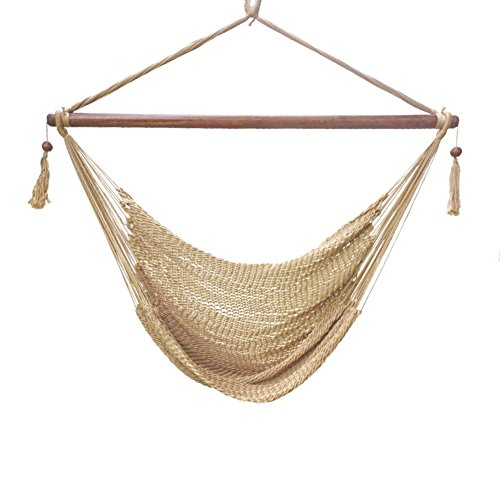 Blissun Hanging Hammock Chair, Swing Chair, 40-inch Wide Seat, Polyester Cotton Tan