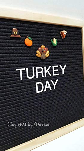 (THANKSGIVING Accessories for Felt Letter Board. Set of 5 polymer clay icons Turkey, Pilgrim hat, Pumpkin, Corn, and Pumpkin Pie)