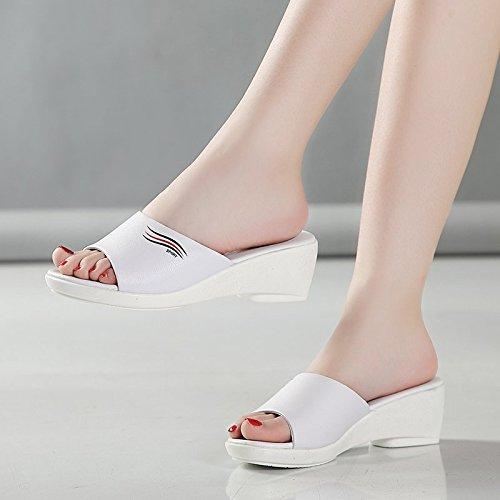 HBDLH Damenschuhe Sommer Flache Flache Flache Boden Hang mit Coolen Hausschuhe Mitte und Unten Ziehen Dicke Frauen Schuhe 7e4776