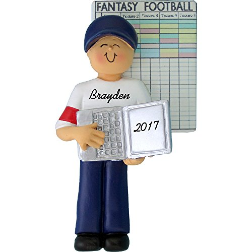 Fantasy Football Personalized Christmas Ornament - Male - Handpainted Resin - 4.25