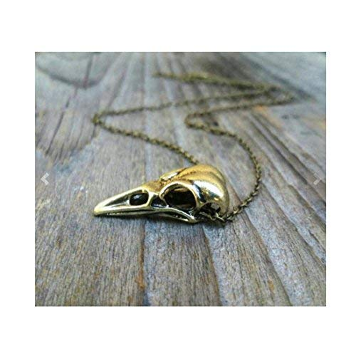 The Labyrinth, Antique Bronze Raven Skull Necklace, Bird Skull Necklace, Unisex Jewelry, Men's Necklace, Mens Jewelry -