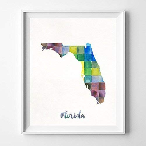 Watercolor Florida Map.Amazon Com Florida Watercolor Map Poster Wall Art Print Home Decor