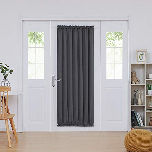 Deconovo French Door Panels Blackout Curtain Rod Pocket Thermal Insulated Curtains for Living Room 54x72 inch Dark Grey 1 ()