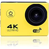 Sports Camera Sports Video 4K WIFI Action Cam 12 MP Underwater Camcorder HD 1080P and 2 Batteries 170° Wide-Angle yellow