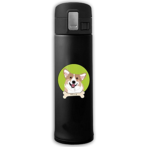 Cute Welsh Corgi Leak Proof Stainless Steel 304 Insulation Cup Water Bottle Keep Cold Camping Mug 500ML - Design For Sports & Outdoors Activities - Keeps Cold And Hot Black