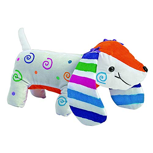 Colorations Set of 12 Decorate Your Own Fabric Plush Stuffed Puppy Dog, Arts & Crafts, Autograph, Signatures, Smooth, 4-1/4