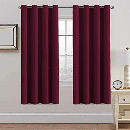 H.VERSAILTEX Thermal Insulated Blackout Curtains - Antique Copper Grommet Top Window Drapes - Burgundy- 52