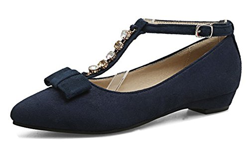 Aisun Women's Rhinestone Low Cut Pointed Toe Buckled Dressy Chunky Low Heel Ankle T Strap Pumps Shoes With Bow (Navy Blue, 10 B(M) US) by Aisun