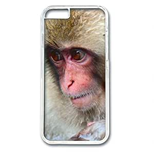 iCustomonline Adorable Monkey PC Transparent Hard Back Case Cover for iPhone 6 (4.7 inch)