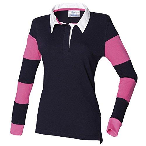 Manga Larga Xl nbsp;camiseta Diseño Mujer Marino Row nbsp;– Rugby De Rayas Para Fr103 A Front rosa nbsp;azul qaXIEB