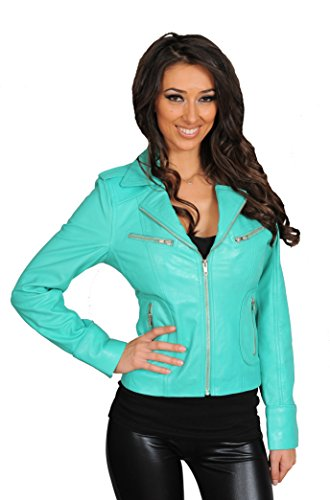 Womens Slim fit Turquoise Real Leather Jacket Biker Style Zip Coat Betty (X-Small)