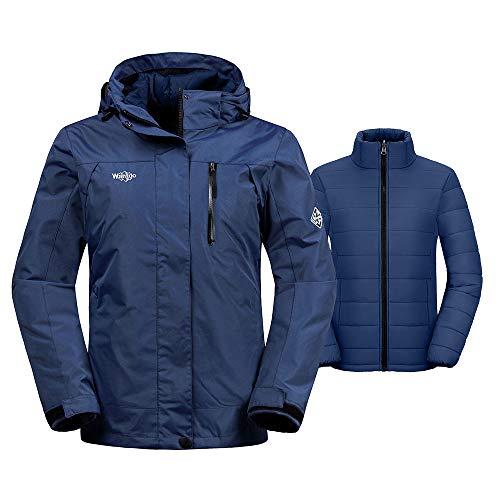 Wantdo Women's Windproof 3-in-1 Ski Jacket Waterproof Windbreaker with Removable Puffer Liner Winter Coat for Snowboarding(Navy, X-Large) (Best 3 In 1 Jacket Reviews)