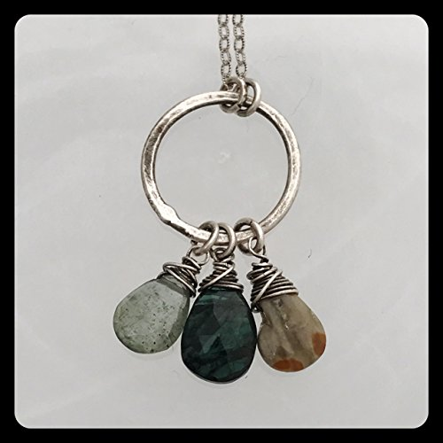 Green Tourmaline, Moss Aquamarine, Jasper ring necklace on antiqued sterling silver ()