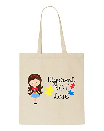 Brown Bag Not Different Character Tote Girl Less With Autism Natural Awareness Long G1 Hair qpfzwAq