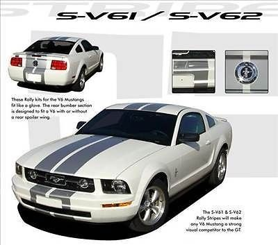 S-V6 Racing Rally Stripes Decals Graphics 2007 (3M Vinyl) fits Ford Mustang