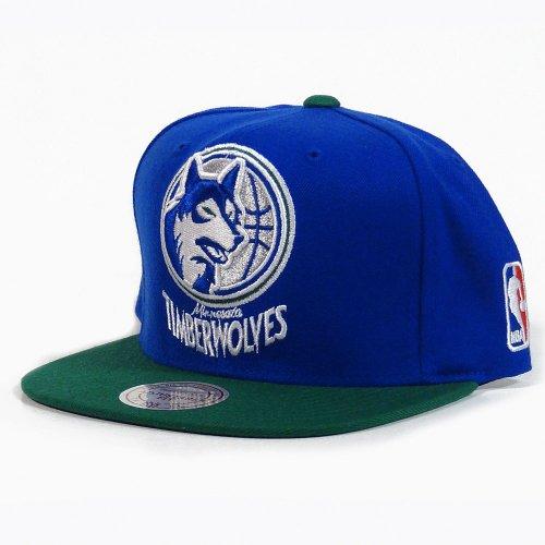 NBA Mitchell & Ness Minnesota Timberwolves XL Logo Two Tone Snapback Hat – Slate Blue/Green – Sports Center Store